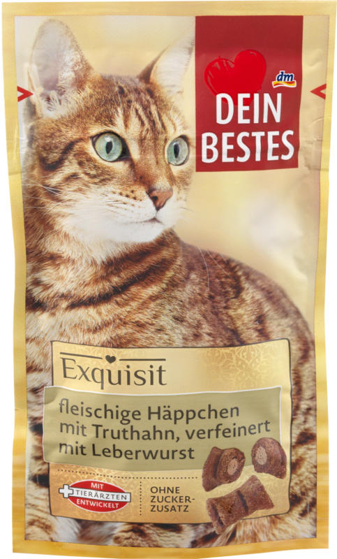 Dein Bestes Exquisit, Snack für Katzen, fleischige Häppchen mit Truthahn, verfeinert mit Leberwurst