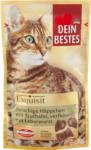 dm-drogerie markt Dein Bestes Exquisit, Snack für Katzen, fleischige Häppchen mit Truthahn, verfeinert mit Leberwurst