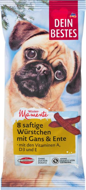 Dein Bestes Wintermomente, Snack für Hunde, saftige Würstchen mit Gans & Ente 8ST