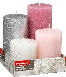 Profissimo Rustik Stumpenkerzen 4er Set gestuft metallic rosa, silber