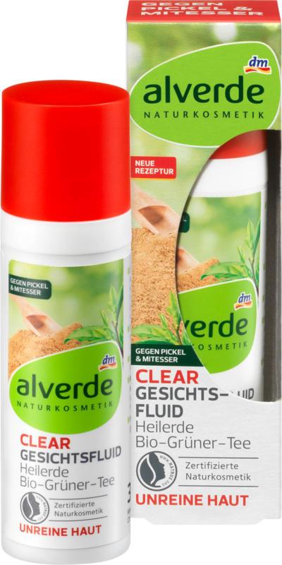 alverde NATURKOSMETIK Clear Gesichtsfluid Heilerde Bio-Grüner-Tee