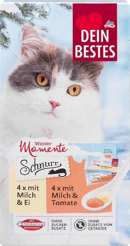 Dein Bestes Wintermomente Schnurr, Snack für Katzen, 4 x mit Milch und Ei, 4 x mit Milch und Tomate, 8 St