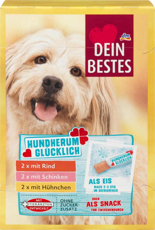 Dein Bestes Hundherum Glücklich, Snack für Hunde, 2x mit Rind, 2x mit Schinken, 2x mit Hühnchen, Multipack, 6x20 g