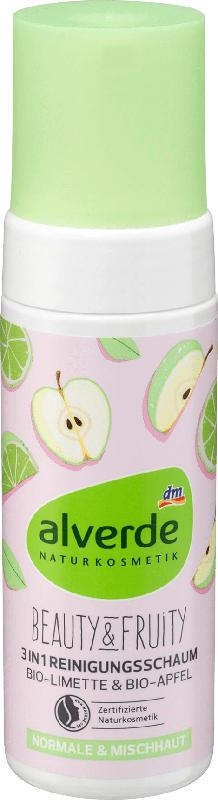 alverde NATURKOSMETIK Reinigungsschaum Beauty & Fruity 3in1 Bio-Limette Bio-Apfel