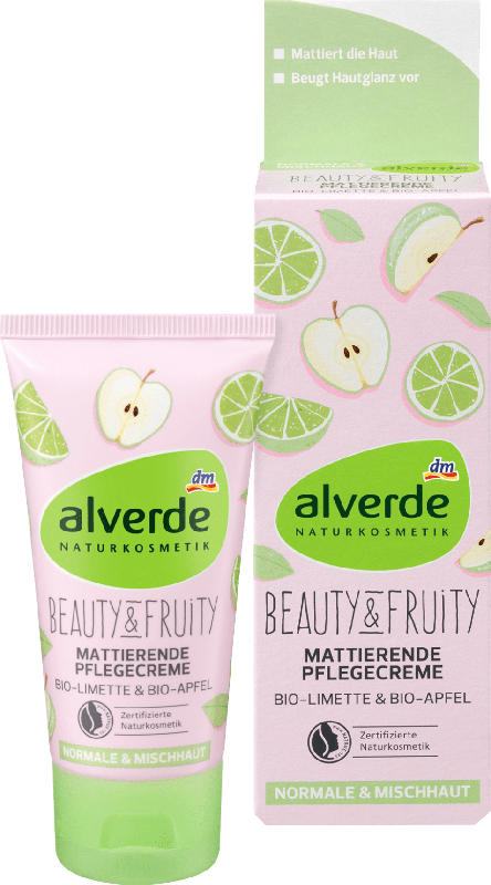 alverde NATURKOSMETIK Tagescreme Beauty & Fruity Mattierende Pflegecreme Bio-Limette Bio-Apfel