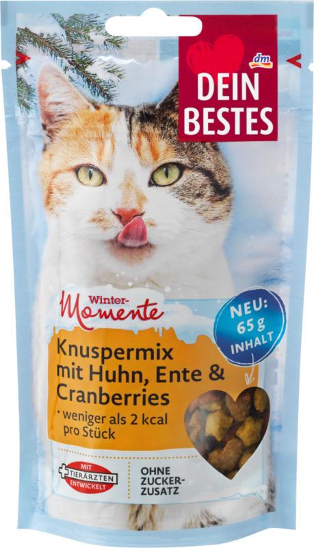 Dein Bestes Wintermomente, Snack für Katzen, Knusper-Mix mit Huhn und Cranberries