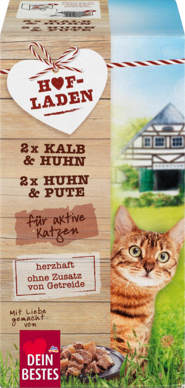 Dein Bestes Hofladen, Nassfutter für aktive Katzen, Kalb und Huhn & Huhn und Pute, Multipack 4 x 85 g