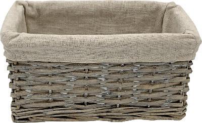 Dekorieren & Einrichten Weidenkorb mit Stoffbezug grau