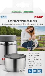 Reer Edelstahl-Warmhaltebox für Nahrung mit Becher, 350ml