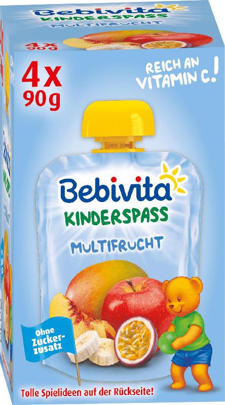 Bebivita Quetschbeutel Kinderspass Multifrucht ab 1 Jahr, 4x90g