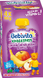Bebivita Quetschie Banane-Heidelbeere in Apfel ab 1 Jahr, 4x90g