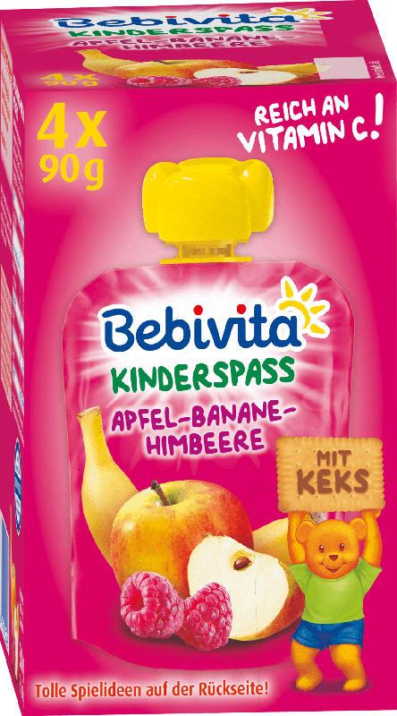 Bebivita Quetschbeutel Apfel-Banane-Himbeere mit Keks