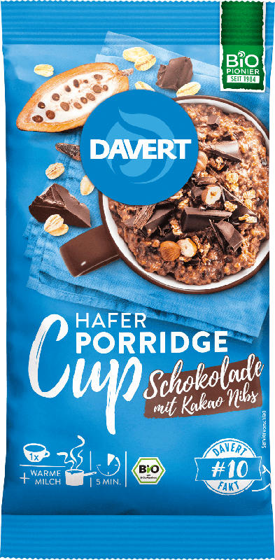 Davert Zwischenmahlzeit, Porridge Cup, Schokolade mit Kakao Nibs