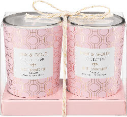 Dekorieren & Einrichten Duftkerzenglas rosa-gold Rose