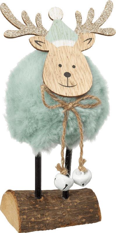 Dekorieren & Einrichten Holzaufsteller Elch mit Fellkörper und Glöckchen mint