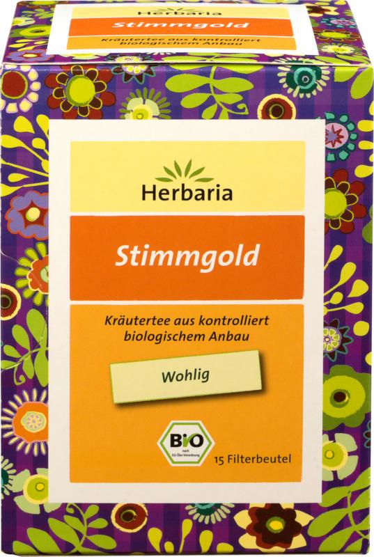 Herbaria Kräuter-Tee Stimmgold mit Lindenblüten, Thymian, Süßholz & Johannisbeerblätter (15 x 1,6 g)