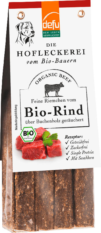 Defu Snacks für Hunde, Bio-Rind, Feine Riemchen