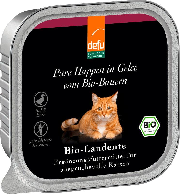 Defu Nassfutter für Katzen, Bio Landente, Adult, Pure Happen in Gelee