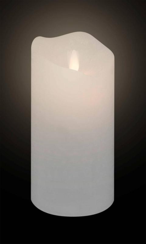 Dekorieren & Einrichten LED-Stumpenkerze Echtwachs mit Flackerlicht und Timer weiß