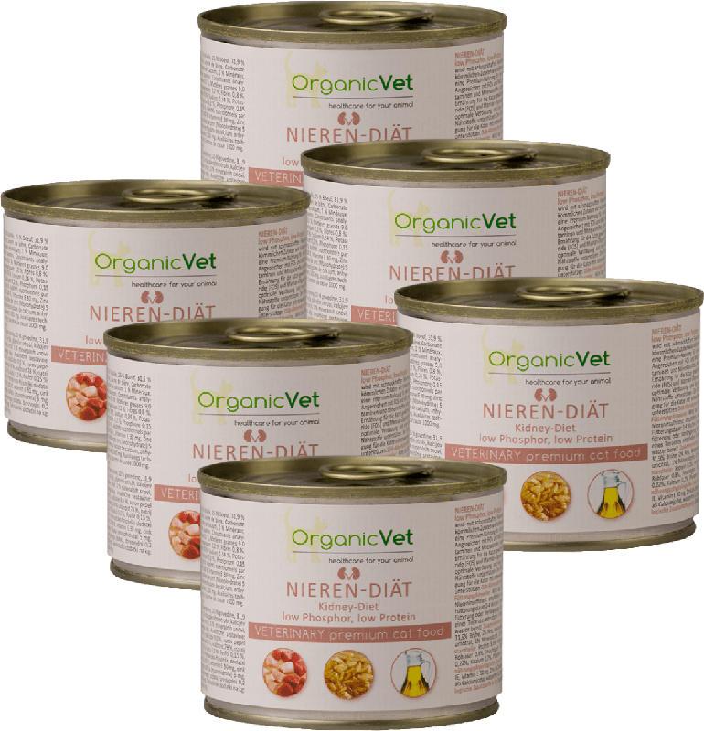 OrganicVet Diät-Nassfutter für Katzen, Nieren-Diät, Multipack (6 x 200g)