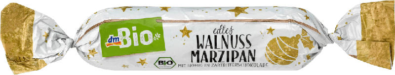 dmBio Adventsgebäck, Honig-Marzipan-Brot mit Walnüssen in Zartbitterschokolade