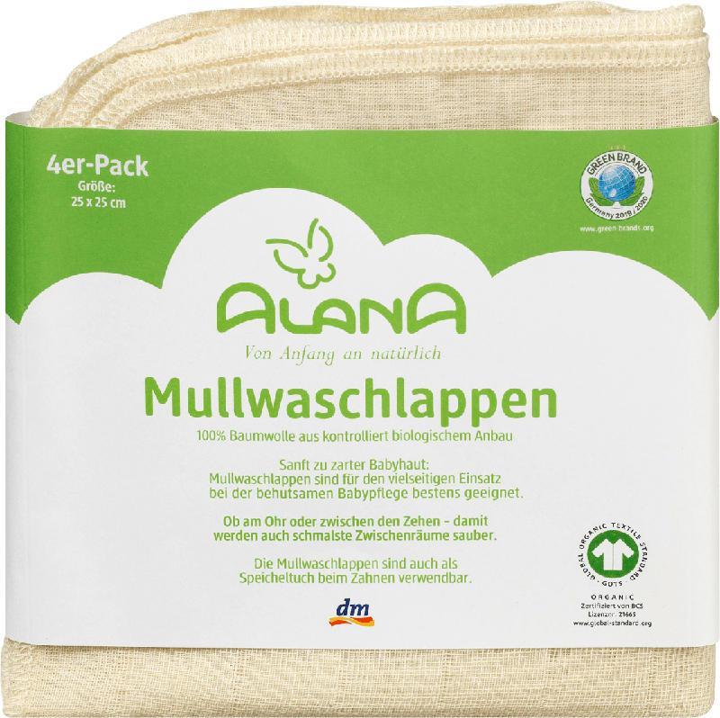ALANA 4er Pack Mullwaschlappen, in Bio-Baumwolle, 25 x 25 cm, natur