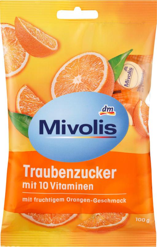 Mivolis Traubenzucker Orange mit 10 Vitaminen