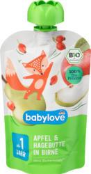 babylove Quetschie Apfel & Hagebutte in Birne ab 1 Jahr