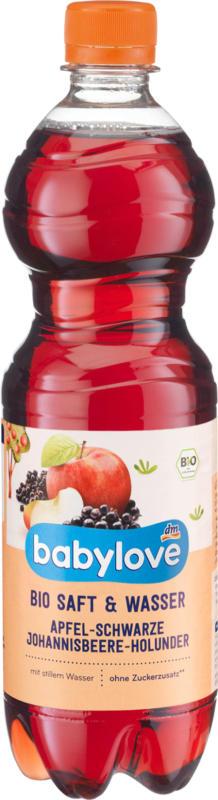 babylove Saft Apfel-schwarze Johannisbeere-Holunder mit stillem Mineralwasser