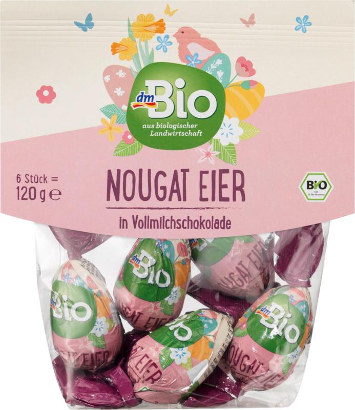 dmBio Nougat Eier in Vollmilchschokolade
