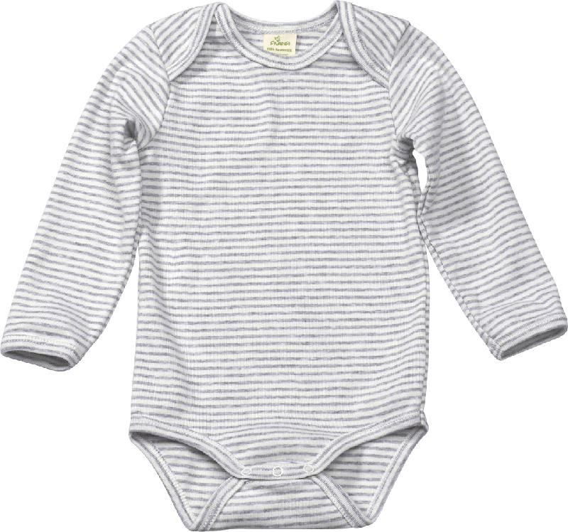 ALANA Baby Body, Gr. 86/92, in Bio-Baumwolle, weiß, grau