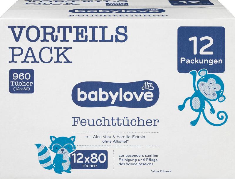 babylove Feuchttücher, 12x80 St