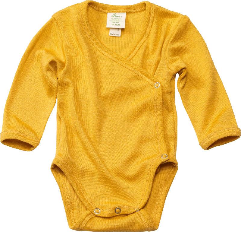 ALANA Baby Wickelbody, Gr. 74/80, in Bio-Wolle und Seide, gelb, für Mädchen und Jungen