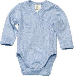 ALANA Baby Wickelbody, Gr. 62/68, in Bio-Wolle und Seide, blau, für Mädchen und Jungen