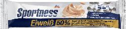 Sportness Eiweiß-Riegel 50 %, Crispy-Peanutbutter-Geschmack, mit weißer Maltit-Schokolade überzogen, 2x30g