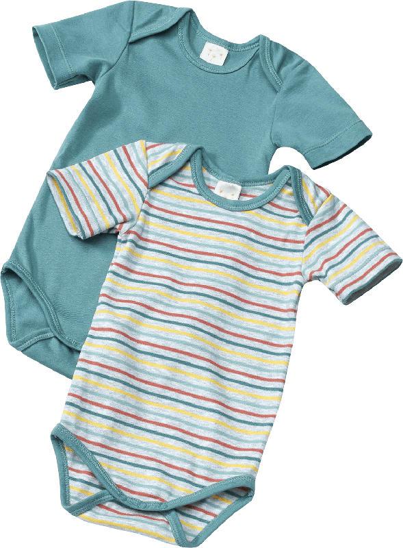 PUSBLU Doppelpack Baby Body, Gr. 86/92, in Bio-Baumwolle, grau, blau