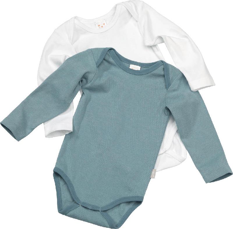 PUSBLU Doppelpack Baby Body, Gr. 86/92, in Bio-Baumwolle, blau, weiß