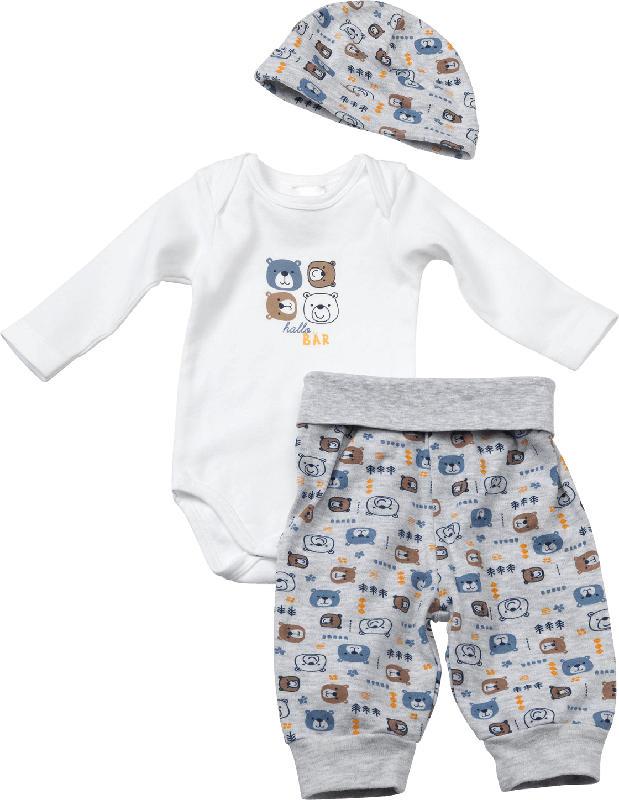 PUSBLU Baby Set, Gr. 50/56, in Bio-Baumwolle, weiß, grau
