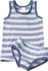 PUSBLU Kinder Unterwäsche Garnitur, Gr. 98, in Bio-Baumwolle, blau, weiß