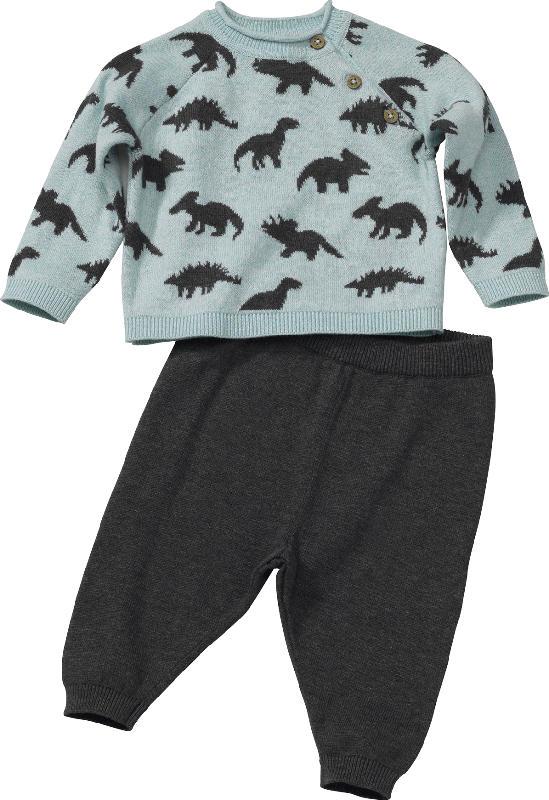 PUSBLU Set aus Kinder Pullover und Hose, Gr. 68, in Baumwolle, mint, grau