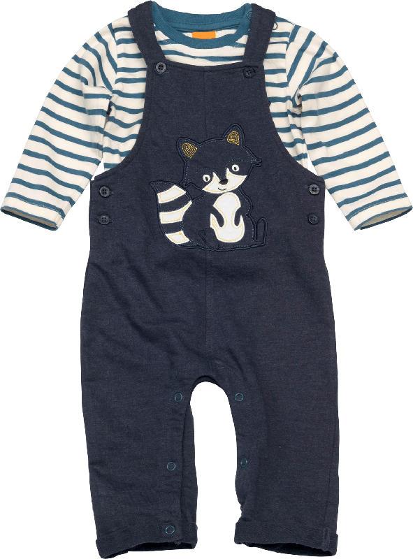 PUSBLU Set aus Kinder Latzhose und Shirt, Gr. 62, in Baumwolle und Polyester, blau