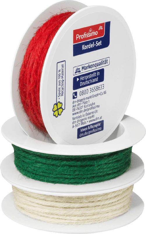 Profissimo Jutekordel-Set bunt (weiß/grün/rot)