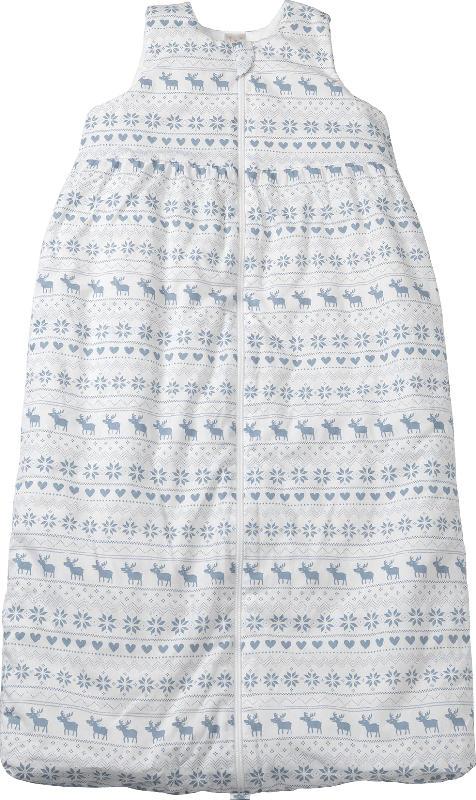 PUSBLU Kinder Web Schlafsack, 90 cm, in Bio-Baumwolle und recyceltem Polyester, weiß, blau