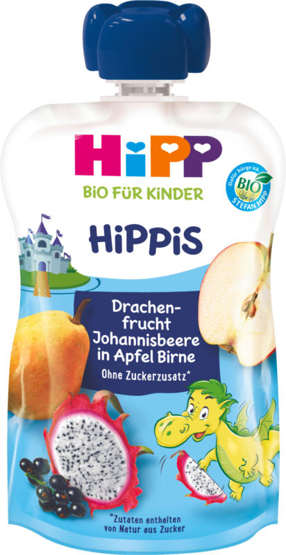 Hipp Quetschbeutel Drachenfrucht-Johannisbeere in Apfel-Birne ab 1 Jahr