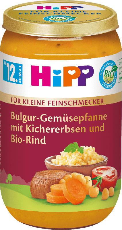 Hipp Menü Für kleine Feinschmecker Bulgur-Gemüsepfanne mit Kichererbsen und Bio-Rind ab 12. Monat