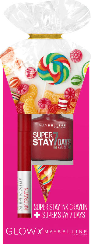 Maybelline New York Glow Set Lippenstift Super Stay Ink Crayon 50 + Nagellack Forever Strong 06