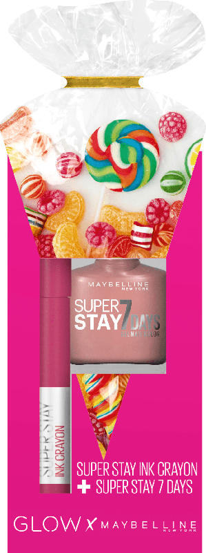 Maybelline New York Glow Set Lippenstift Super Stay Ink Crayon 30 + Nagellack Forever Strong 78
