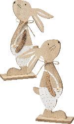 Ostern Holzaufsteller Hase natur-weiß-gold