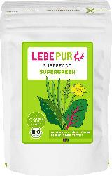 Lebepur Superfood Pulver, Supergreen mit Weizengras, Gerstengras, Spinat, Spitzwegerich & Brennnessel