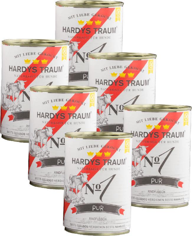Hardys Traum Nassfutter für Hunde, Pur No. 1 Rind, glutenfrei, 6x400g